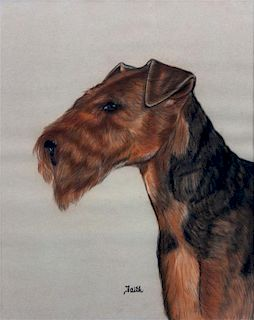 * A Pastel of a Welsh Terrier 19 1/2 x 15 1/2 inches.