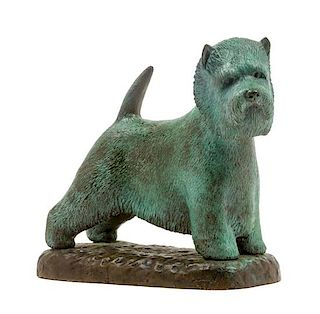 * A Bronze West Highland Terrier Width 6 1/2 inches.
