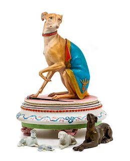 * A Group of Five Whippet Figures Height of tallest 10 3/4 inches.