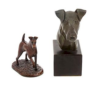 * Two Bronze Wire Fox Terrier Sculptures Height of taller 8 1/2 inches.