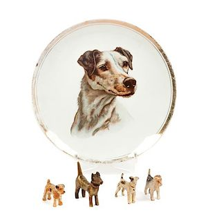 * A Group of Five Wire Fox Terrier Articles Diameter of plate 9 3/4 inches.