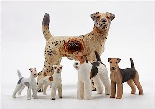 * A Group of Five Wire Fox Terriers Width of widest 8 inches.