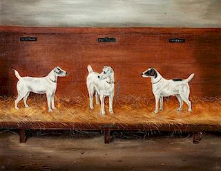 * An Oil Painting depicting Wire Fox Terriers 13 3/4 x 17 1/2 inches.
