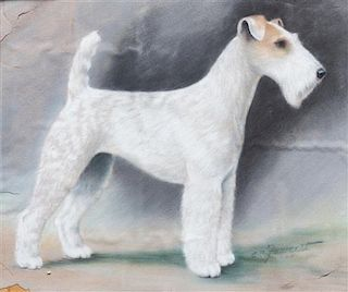 * Two Works of Art depicting Wire Fox Terriers Larger: 10 3/4 x 12 5/8 inches.