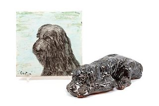 * Two Ceramic Wirehaired Pointing Griffons Width of wider 9 1/2 inches.