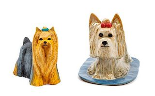 * Two Yorkshire Terrier Figures Width of widest 9 1/4 inches.