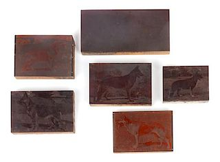 * A Collection of Copper Photogravure Plates Mounted on Wood Blocks