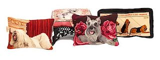 * Four Needlework Articles depicting Various Dog Breeds Width of widest 19 inches.