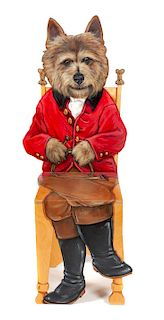 * A Wooden Chair depicting a Dog in Foxhunting Garb Height 45 inches.