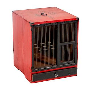 * A Wooden Japanese Dog Crate Height 18 x width 15 x depth 16 inches.