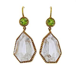 Verdura Byzantine White Topaz Peridot 18k Gold Earrings