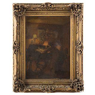 Marcel Rieder. Figures in a Lamplit Interior