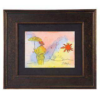 Peter Max. Umbrella Man with Sun