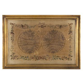 American 19th c. Map of the World, Needlework