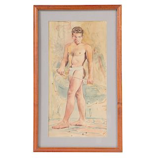 Attrib. to W. Reginald Watkins. Semi Nude Male