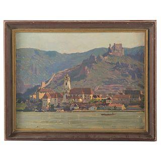 Karl Ludwig Prinz. Mountainous Landscape with Town