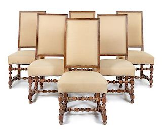 A Set of Six Louis XIII Style Walnut Dining Chairs Height 43 inches.