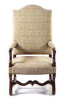 A Louis XIII Style Walnut Fauteuil Height 48 inches.