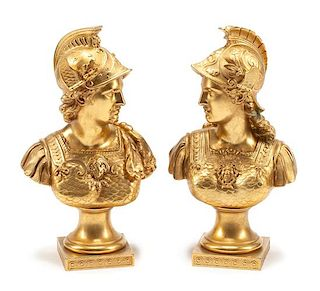 A Pair of French Gilt Bronze Busts Height 14 inches.
