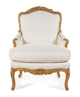 A Regence Giltwood Bergere Height 38 inches.