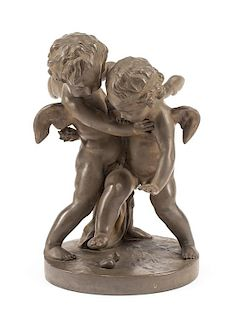 A French Patinated Bronze Figural Group Height 17 1/4 inches.