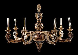A Regence Style Painted and Parcel Gilt Seven-Light Chandelier Height 41 x diameter 53 inches.
