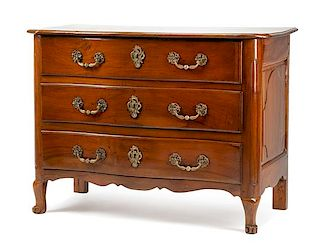 A French Provincial Walnut Commode Height 37 1/2 x width 50 1/2 x depth 23 1/4 inches.