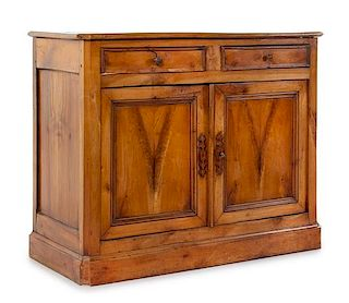 A Provincial Burl Walnut Serving Cabinet Height 37 x width 46 1/4 x depth 20 1/4 inches.