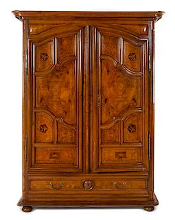 A French Provincial Marquetry Armoire Height 95 x width 69 x depth 24 inches.