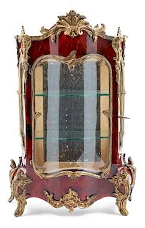 A Diminutive French Gilt Metal Mounted Tortoise Shell Vitrine Cabinet Height 14 inches.