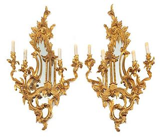 A Pair of French Gilt Bronze Four-Light Girandole Mirrors Height 37 1/2 x width 23 inches.
