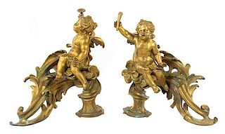 A Pair of Louis XV Style Gilt Bronze Chenets Height 14 x width 15 inches.