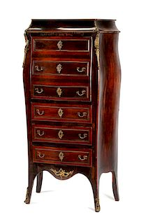 A French Gilt Bronze Mounted Rosewood Secretaire a Abattant Height 46 1/2 x width 26 x depth 20 inches.