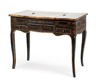 A Louis XV Painted Poudreuse Height 27 1/2 x width 32 x depth 18 inches.
