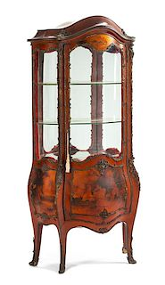 A Louis XV Style Vernis Martin Vitrine Height 71 x width 33 x depth 16 inches.