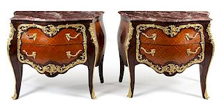 A Pair of Louis XV Style Gilt Bronze Mounted Commodes Height 32 1/2 x width 34 x depth 23 inches.