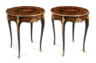 A Pair of Louis XV Style Gilt Bronze Mounted Marquetry Tables Height 30 inches.