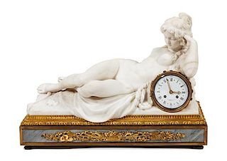 * A French Gilt Bronze Mounted Marble Mantel Clock Height 16 x width 22 1/2 x depth 11 1/2 inches.