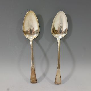 PAIR OF ANTIQUE ENGLISH STERLING SILVER LARGE SPOON 116 GRAMS