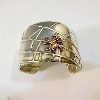 TIFFANY 18K GOLD AND STERLING SILVER SPIDER CUFF BRACELET