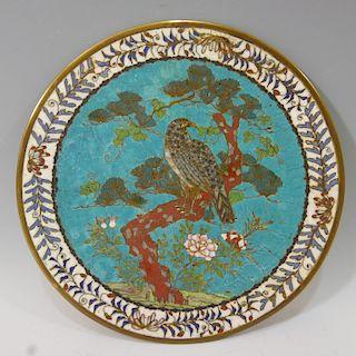 CHINESE ANTIQUE CLOISONNE ENAMEL PLAQUE 17-18TH CENTURY