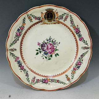 CHINESE ANTIQUE FAMILLE ROSE ARMORIAL PLATE - QIANLONG PERIOD