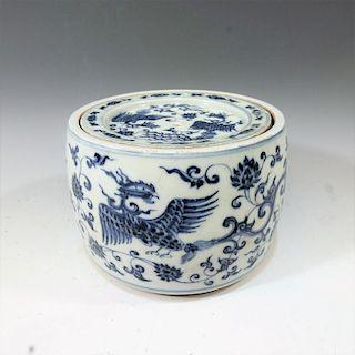 CHINESE ANTIQUE BLUE WHITE CRICKET BOX - XUANDE MARK