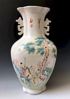 CHINESE ARTIST XIU SHANQUN FAMILLE ROSE PORCELAIN VASE. LATE 19C
