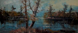 MORRIS KATZ. Large Oil on Canvas Lake Scene.