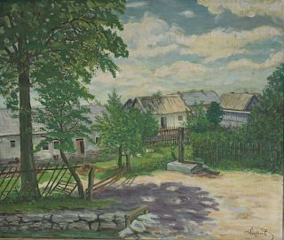 SIGNED. 1948 Oil on Board Village Scene.