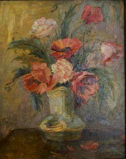 V.Kadulin? Oil on Board Floral Still Life.