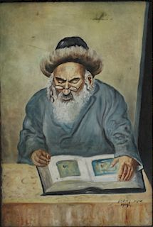 Cyrillic  SIGNED. Oil on Canvas of a Rabbi Reading