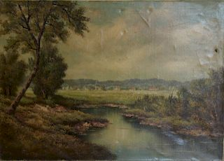 JANSEM? Oil on Canvas of River Scene.