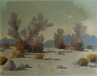 UNSIGNED. Oil on Board Desert Scene.
